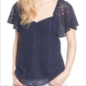 Hinge Flutter Sleeve Lace Top Navy Size Small